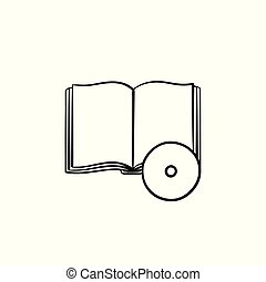 Audiobook hand drawn sketch icon.