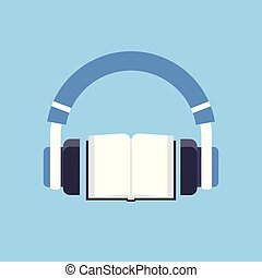 audiobook headphones over open textbook audio book distance...