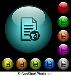 Audiobook icons in color illuminated glass buttons -...