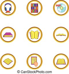 Audiobook icons set, cartoon style