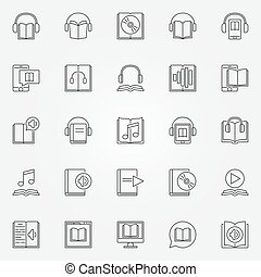 Audiobook icons set