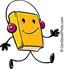 Audiobook - Funny smiley book (audiobook) walking in...