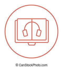 Audiobook line icon.