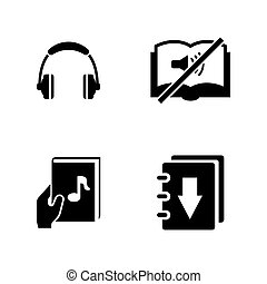 Audiobook. Simple Related Vector Icons