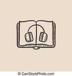Audiobook sketch icon. - Audiobook sketch icon for web,...