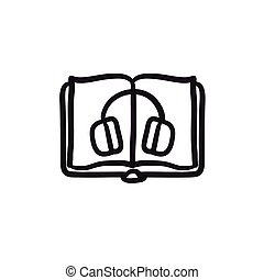 Audiobook sketch icon.