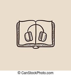 Audiobook sketch icon. - Audiobook sketch icon for web,...