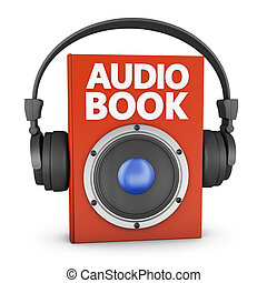 audiobook - red audiobook with speakers and headphones on a...