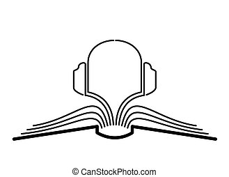 Audiobook. - The concept of the book pages and headphones.