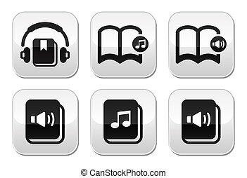 Audiobook vector buttons set - Listening to audiobooks grey...