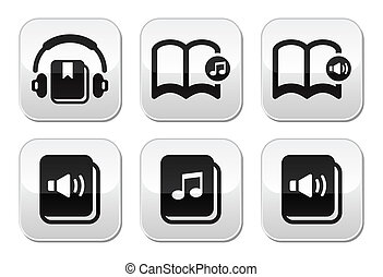 Audiobook vector buttons set - Listening to audiobooks grey...