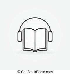 Audiobook vector icon. Headphones with book concept symbol...