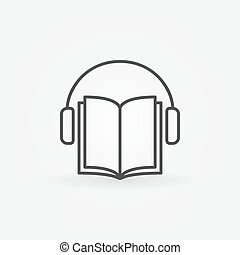 Audiobook vector icon. Headphones with book concept symbol...