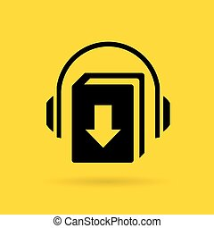 Audiobook vector icon on yellow background