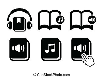 Audiobook vector icons set