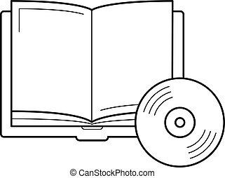 Audiobook vector line icon.