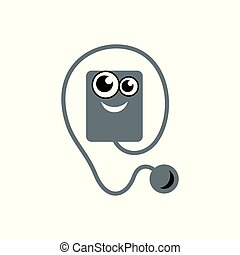 Audiobook vector sign - Character with headphones isolated...
