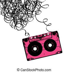 audiocassette, וקטור, הקלט, illustration., tangled.