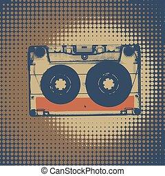 Audiocassette retro music background. Audiocassette illustration. Retro audio cassettes. Vintage styled retro music background