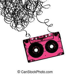 audiocassette, vektor, tejpa, illustration., tangled.