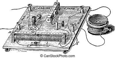 Audiometer of Baratoux, search for auditory acuity, vintage engraved illustration. Usual Medicine Dictionary - Paul Labarthe - 1885.