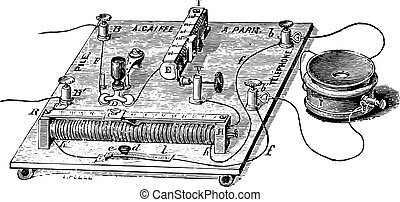 Audiometer of Baratoux, search for auditory acuity, vintage engraving.