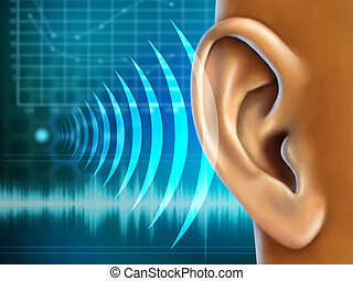 Audiometry - Conceptual image about human earing test. ...