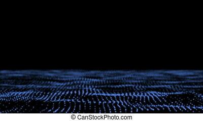 audionumérique, particule, champ, reaction., son, particulier, écoulement, paysage abstrait, visualization., particles., wave.