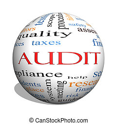 Audit 3D sphere Word Cloud Concept with great terms such as...