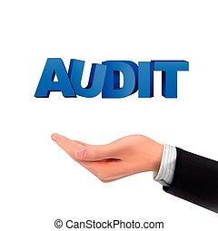 audit, 3d, tenue, mots, main