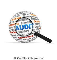 Audit 3d Word Sphere with magnifying glass on white background.