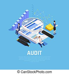 Audit Accounting Isometric Composition