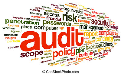 Audit and compliance  in word tag cloud on white