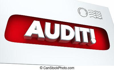 audit, avis, impôt, revue, enveloppe, illustration, 3d