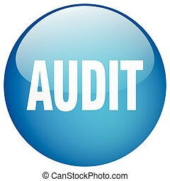 audit blue round gel isolated push button