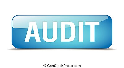 audit blue square 3d realistic isolated web button