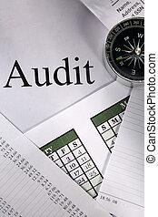 audit, budget, calendrier, opération, compas