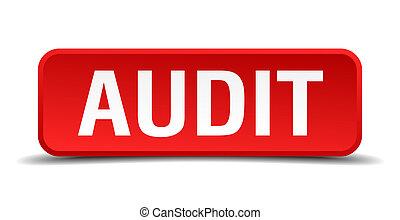 audit, carrée, tridimensionnel, bouton, isolé, fond, blanc rouge