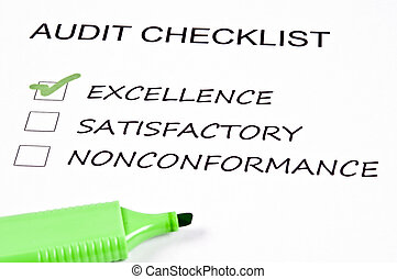 Audit checklist and a marker