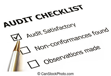 "Audit checklist with silver and gold ballpoint. Check in ""audit satisfactory"" box."
