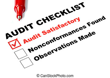 "Audit checklist, with tick against ""audit satisfactory"","
