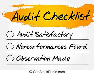 Audit Checklist, finance business concept