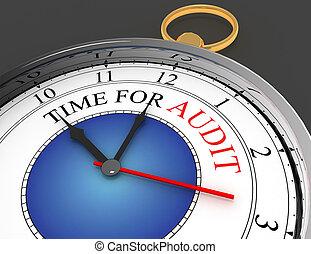 audit, concept, mot, horloge, temps, rouges