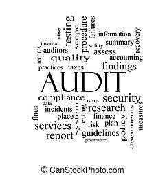 audit, concept, mot, noir, nuage blanc