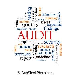 audit, concept, mot, nuage