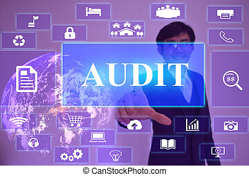 AUDIT concept  presented by  businessman touching on  virtual  screen ,image element furnished by NASA