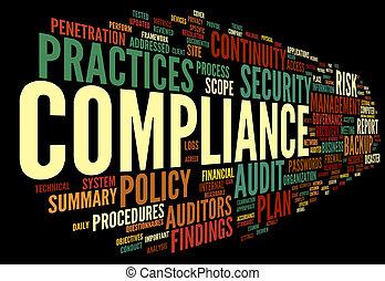audit, conformité, mot, nuage, étiquette