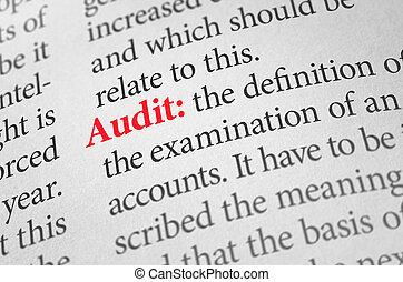 audit, définition, mot, dictionnaire