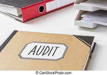 audit, dossier, étiquette