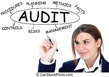 audit, femme affaires, dessin, plan